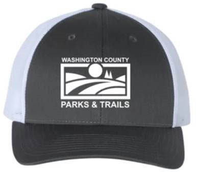 PARKS & TRAILS CAP - CHARCOAL BLACK/WHITE/WHITE LOGO